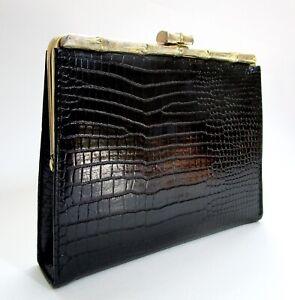 Vintage Black Metal Glomesh Crossbody Bag  Clutch with Metal Strap