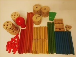 Lot of  Wooden Tinker Toys Mixed Sizes Wood Wheels pegs sticks 77 Pc Replacement