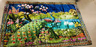 """Vintage Peacock Floral Rug / Wall Tapestry P&C  Italy Original Quality 72"""" x 48"""""""