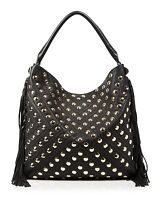 NWT $395 REBECCA MINKOFF CLARK FRINGE GOLD STUD BLACK LEATHER HOBO CROSSBODY BAG