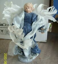 DanDee Porcelain Angel Statue Blue Velvet Silver White Feather Wings