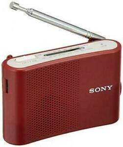 New Sony FM AM Handy Portable Radio Red ICF-51/R From Japan