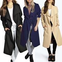 Stylish Womens Long Sleeve Trench Coat Overcoat Parka Outwear Windbreaker Chic