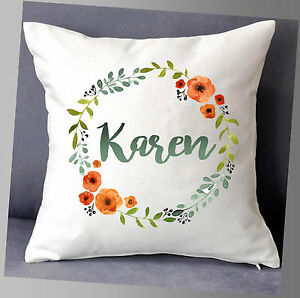 """LOVELY PERSONALISED NAME CUSHION COVER FLORAL WREATH FLOWERS 16""""x16"""""""