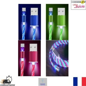 Câble USB Chargeur Magnétique LED Type-C Micro USB Charge Rapide Neuf FR