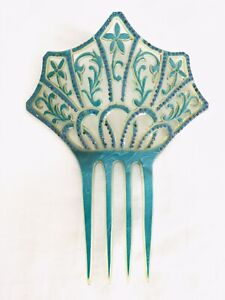 "Antique Celluloid Blue Floral Rhinestone Hair Comb~Large 7""~Spanish Deco"