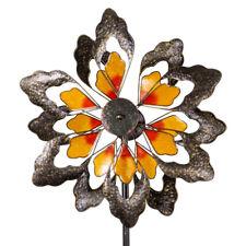 FLOWER ORANGE großes Windrad Windspiel Blume Metall 180 cm Ø 57 cm