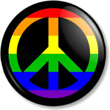 """Peace Symbol Rainbow 25mm 1"""" Pin Button Badge Ban the Bomb Sign Hippie Love Flag"""
