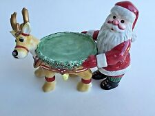 Retired Fitz and Floyd Christmas Candle Holder Santa and Reindeer Holiday