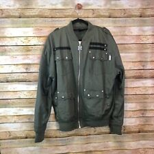 Blac Label Bomber Jacket Army Green Men Size XL Wings Guns Courage To Survive