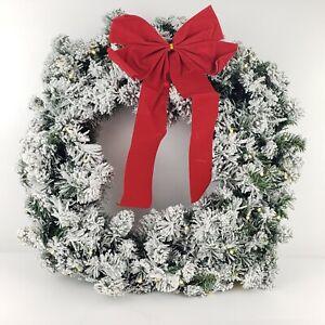 "Bethlehem Lights 26"" Flocked Overlit Wreath Clear Lights"