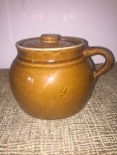 Vintage Brown Pottery Stoneware Crock / Bean Pot With Lid and Handle-primitive