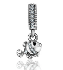 Fashion 925 Silver Crystal Fish Charm European Beads Fit Necklace Bracelet NEW