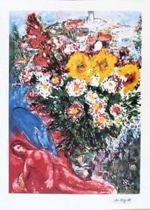 Marc CHAGALL Le Soucis Flowers Facsimile Signed Litho Print