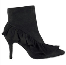 Glamorous Ruffle Frill Detail Womens UK 6 Black Faux Suede Stiletto Ankle Boots