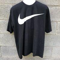 Vintage 90s Y2K Nike Big Large Swoosh Black T Shirt Tee Graphic Size XL