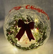 Merry Christmas Lighted Crackled Glass Ball Christmas Tabletop Centerpiece 6""