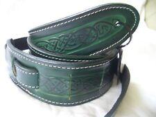 Guitar Strap - Green Celtic Design Real Leather