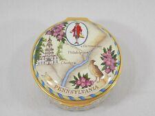 Vintage William Penn Limited Edition - Halcyon Days Enameled Porcelain Box