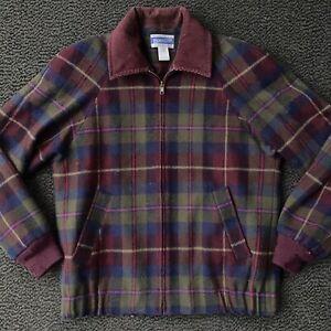 Vintage Pendleton Plaid Bomber Jacket Women's Petite P (Size 2) 100% Wool USA