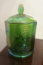 """VINTAGE INDIANA HARVEST GRAPE GREEN CARNIVAL GLASS 7"""" CANISTER W/ LID AWESOME"""
