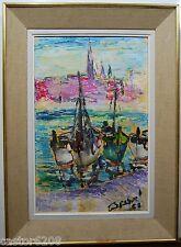 TABLEAU Huile sur papier PORT BATEAUX signé à identifier 63 cadre 47 x 66 cm
