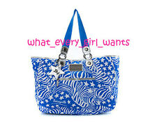 $110 NEW BETSEY JOHNSON BLUE ZEBRA STRIPES STAR HANDBAG SCHOOL/SHOPPER TOTE BAG