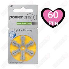 60 batterie pile Power One 10 PR70 per protesi acustiche