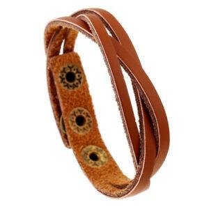 Black Brown Wine Red Adjustable Leather Wristband Bracelet Mens Womens Unisex