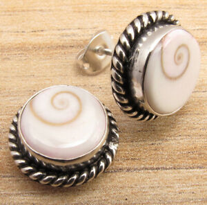 MOTHER OF PEARL SHIVA EYE SHELL GIRL , MEN S Earrings ! 925 Silver Plated