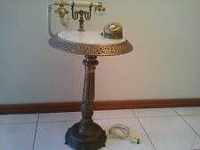 BEAUTIFUL ANTIQUE VINTAGE BRASS & MARBLE TELEPHONE PHONE TABLE COFFEE TABLE