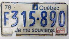 1979 QUÉBEC Canada Je Me Souviens Commercial License Plate F315-890