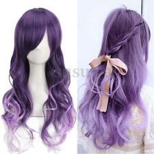 Fashion Women Gradient Purple Curly Wavy Long Wigs Cosplay Party Full Hair Wig