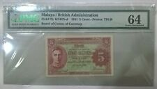 1941 Malaya Straits Settlements BOCOC 5 Cents PMG 64