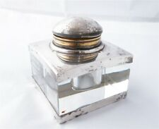 Montblanc German Sterling Silver Glass Inkwell