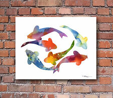 Koi Fish Abstract Watercolor Painting 11 x 14 Art Print by Artist DJ Rogers