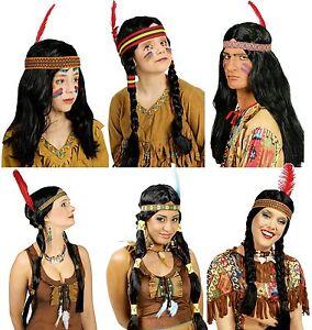 Perücke Indianer Indianerin Sioux Kostüm Kleid Indianerkostüm Indianerperücke