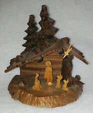 Vtg Oberammergau Hand Carved Wood Nativity Scene Manger In Original Box Germany