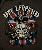 DEF LEPPARD cd lgo ROCK OF AGES Skull Official SHIRT XL New pyromania