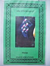 Silk ribbon embroidery kit mini blue with fushia Christmas stocking kit