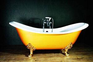 Roll Top Double Slipper Cast Iron Bath + Accessories  Windsor & Buckingham W TH