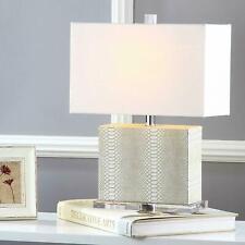 "2 Set Safavieh Lighting Collection Delia Faux Snakeskin Cream 20.5"" Table Lamp"