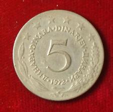 Münze Coin Jugoslawien Jugoslavija 5 Dinar Dinara 1972 (G7)