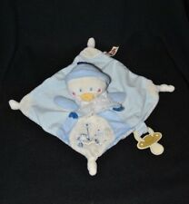 Peluche doudou pingouin Youpik NICOTOY bleu blanc attache tétine 16 cm TTBE