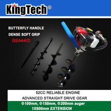 KingTech 52cc Petrol Earth Auger Post Hole Digger Posthole Fence Borer +3 Drills