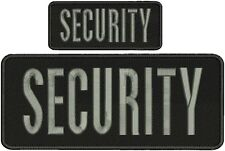 security embroidery Patches 4x10 and 2x5 hookON BACK Grey Letters