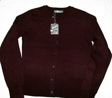 Oasis Round Neck Button Cardigan dark burgundy Size S Brand New With Tags BNWT