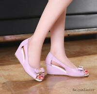 New Womens Ladies Bow Hollow Out High Heel Sandals Wedge Peep Toe Court Shoes Sz