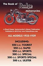 BOOK OF RUDGE MOTORCYCLES ALL MODELS 1933-1939 by Haycraft, Anstey New,,
