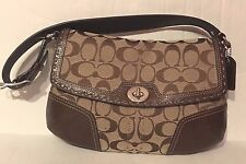 COACH HML Khaki Signature M Brown Leather Sm Flap 11574